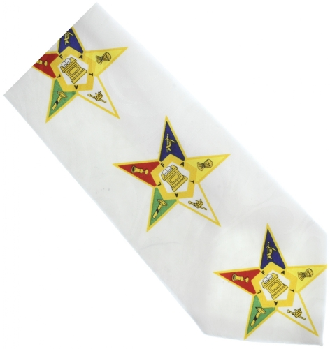 White Eastern Star Tie