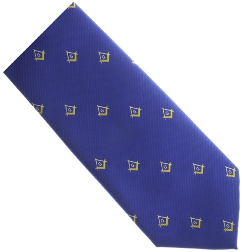 Royal Blue / Gold Square & Compass Tie
