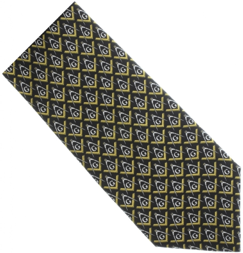 Black / Gold Pave Silk Masonic Tie
