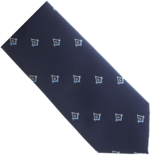 Navy Blue / Copen Square & Compass Tie
