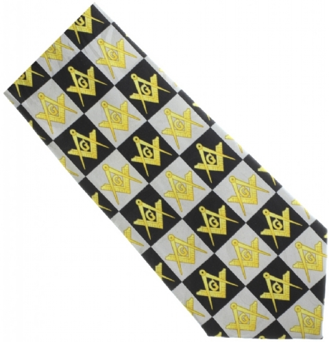 Square & Compass Checkerboard Tie