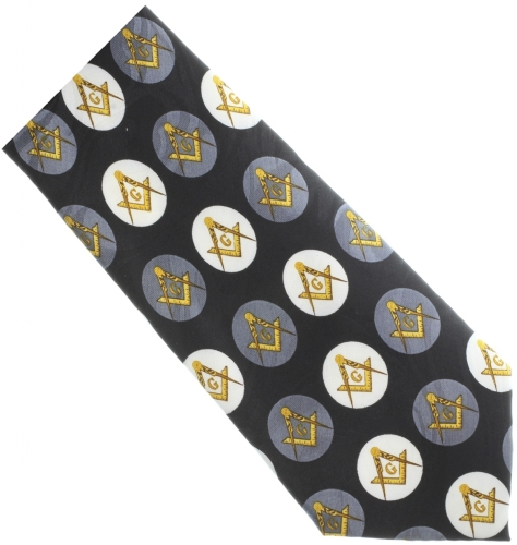 Masonic Black Circle Pattern Tie