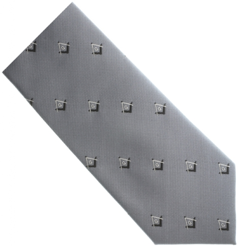 Gray Square & Compass Tie