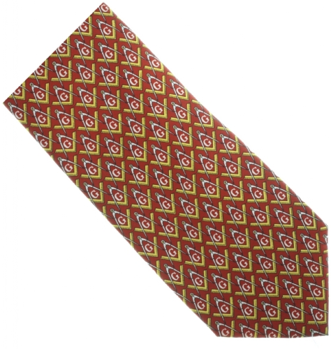 Red / Gold Silk Masonic Tie