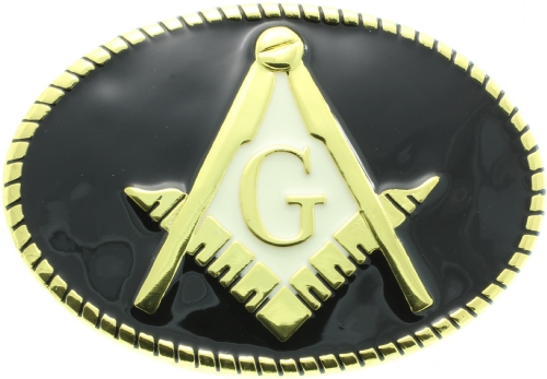 Black & Gold Masonic Belt Buckle