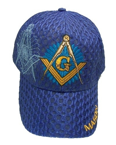 Royal Blue Square & Compass Starburst Weave Hat