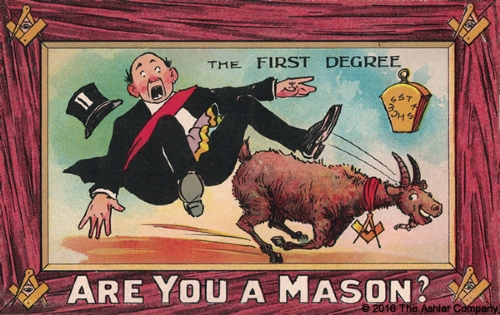 Are you a Mason? The First Degree Postcard