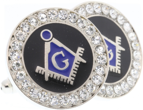 Silver Tone Jeweled Cufflinks