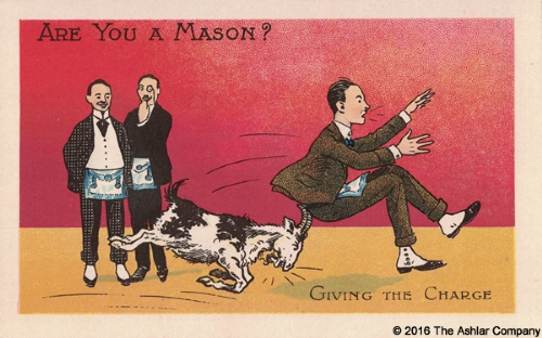 Are you a Mason? Giving the Charge Postcard
