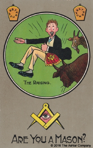 Are you a Mason? The Raising Postcard
