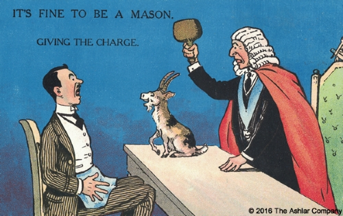 It's Fine to be a Mason. Giving the Charge Postcard