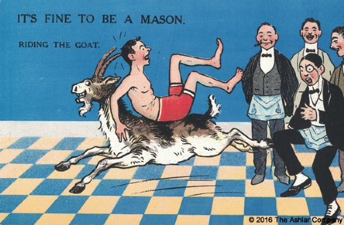 It's Fine to be a Mason. Riding the Goat Postcard