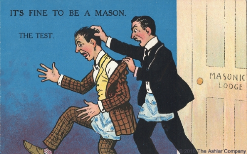 It's Fine to be a Mason. The Test Postcard