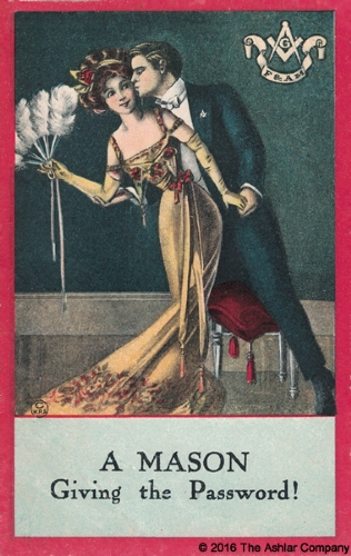A Mason giving the Password Postcard