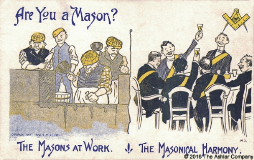 Are you a Mason? The Masons at Work - The Masonical Harmony Postcard