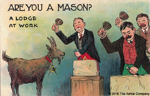 Are you a Mason? A Lodge At Work Postcard
