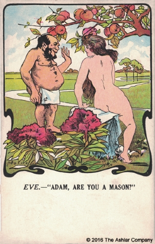 Adam & Eve - Are you a Mason Postcard