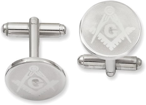 Rhodium-Plated Round Masonic Cuff Links