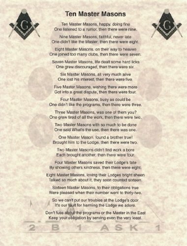 Ten Master Masons Poem
