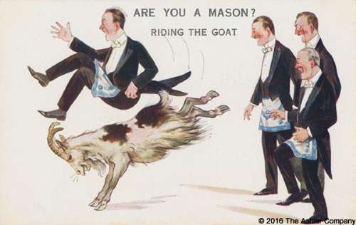 Are you a Mason? Riding the Goat Postcard