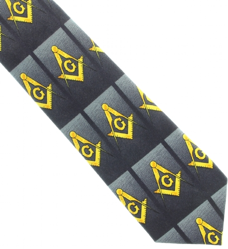 Thin Black Horizontal Square and Compass Tie