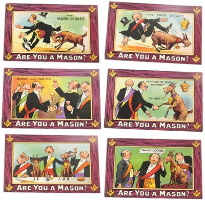 Original British National Are you a Mason Set of 6 Postcards