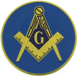 Blue Square & Compass Car Emblem