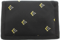 Black Embroidered Square & Compass Wallet Model # 358617