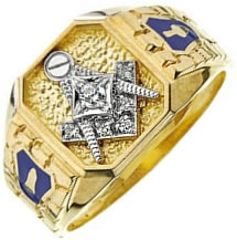 Jeweled Master Mason Nugget Ring