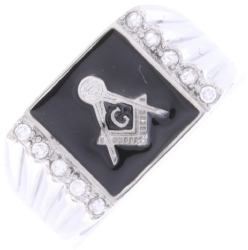Jeweled Square & Compass Ring