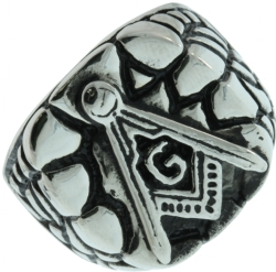 Silver Tone Masonic Nugget Ring