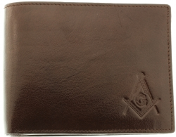 Brown Buffalo Skin Leather Masonic Wallet Model # 361269
