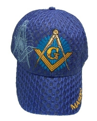 Royal Blue Square & Compass Starburst Weave Hat Model # 361410