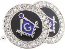 Silver Tone Jeweled Cufflinks Model # 361540