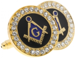 Gold Tone Jeweled Cufflinks Model # 361541