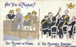 Are you a Mason? The Masons at Work - The Masonical Harmony Postcard Model # 361745