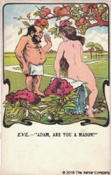 Adam & Eve - Are you a Mason Postcard Model # 361866