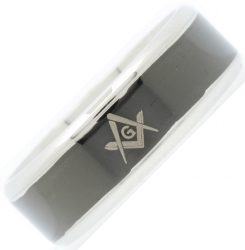 Silver & Black Two Tone Masonic Band Model # 361933