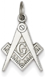 14k White Gold Masonic Charm Model # 362113