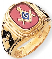 Synthetic Ruby Masonic Ring
