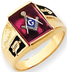 14k Gold Synthetic Ruby Masonic Ring