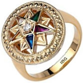 Jeweled Eastern Star Ring