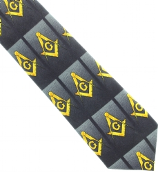 Thin Black Horizontal Square and Compass Tie Model # 363749