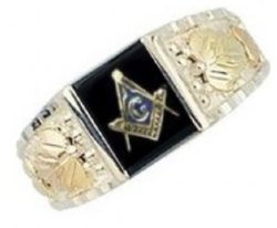 Black Hills Gold Two Tone Masons Ring