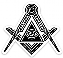 Square & Compass All Seeing Eye Sticker 5 Pack (3 Inch) Model # 363977