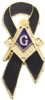 Masonic Mourning Ribbon Pin