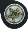 Black Leather Square & Compass Keychain Model # 361075