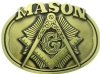 Gold Tone Masonic Belt Buckle Model # 361107