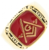 Gold Tone Fancy Masonic Ring Model # 361932