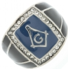 Square & Compass Crystal Ring Model # 361934